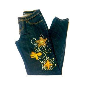 Unique Embroidered Straight Leg Jeans